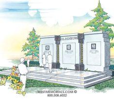 Discover our beautiful bird granite mausoleum design featuring a gorgeous floral arrangement and a bronze decorative door. 2017 Design, Beautiful Birds, Monuments, Funeral, Granite, Hand Carved, Memories, Statue, Interior