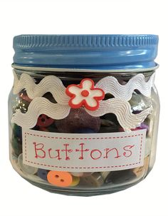 MYstyle Button Jar Blue Jar, Buttons, Traditional, My Style, Crafts, Blue, Manualidades, Handmade Crafts, Craft