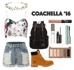 """""""Coachella '16"""" by silverowlett ❤ liked on Polyvore featuring LE3NO, Cult Gaia, Timberland, Urban Decay, MAC Cosmetics, NARS Cosmetics and bestofcoachella"""