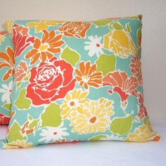 "Turquoise Peach Pillow Covers Floral Accent Pillows 16"" x 16""  Set of Two Decorative Pillow Covers"
