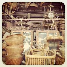 Bangkok - antique rattan and baskets.