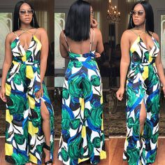 d42f37687c9 Sleeveless Sexy Deep V Spaghetti Straps Loose Women Print Jumpsuits OEP5125