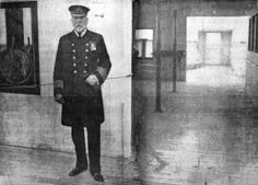 Captain Edward J. Smith posing for a newspaper photographer on the Bridge of the Titanic,only a few hours before departing. Southampton,10 April 1912.