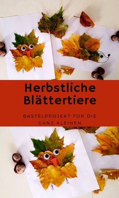 Basteln mit den ganz Kleinen – Herbstliche Blättertiere – Perlenmama A small craft project for toddlers and beginners, autumnal leaf animals. Creative in the fall with toddlers. in autumn crafts Easy Fall Crafts, Diy And Crafts, Paper Crafts, Crafts For Teens To Make, Fall Crafts For Kids, Summer Crafts, Halloween Crafts, Christmas Crafts, Leaf Animals