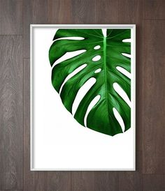 Monstera Leaf Print | Tropical Decor | Jungalow Art | Botanical Art | Tropical Home | Botanical Decor | Tropical Art Print | Monstera Art Print by Little Ink Empire on Etsy