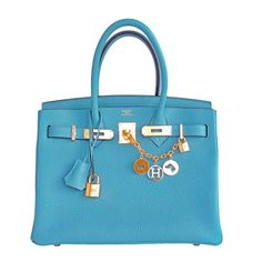 Hermes Blue Saint Cyr Birkin 30cm Bag Gold Hardware Robin Egg Blue | From a collection of rare vintage tote bags at https://www.1stdibs.com/fashion/handbags-purses-bags/tote-bags/