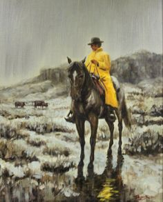 """Western Painting : Andy Dagosta Oil Painting, """"Slicker weather"""", Andy Dagosta Artist, Andy Dagosta Western Artist, CA 1960's-1970's, #692"""