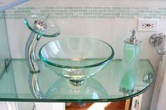 Kittie's Tiny Tudor City Triumph Glass Bowl Sink, Glass Bathroom Sink, Bathroom Sink Design, Bathroom Design Luxury, Modern Bathroom Decor, Vessel Sink, Bathroom Ideas, Pullman Kitchen, Modern Kitchen Counters
