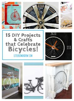 15 DIY Projects and Crafts that celebrate Bicycles! | littleredwindow.com | Awesome projects both about and made OUT of bikes!