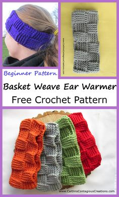 Creative Image of Basket Weave Crochet Hat Pattern Basket Weave Crochet Hat Pattern Basket Weave Ear Warmer Crochet Pattern Caitlins Contagious Creations Basket Weave Crochet Pattern, Crochet Ear Warmer Pattern, Knitting Yarn, Knitting Patterns, Free Easy Crochet Patterns, Knitting Machine, Crochet Ideas, Crochet Headband Free, Knit Headband