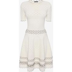 Alexander McQueen Full Circle Mini Dress ($2,250) ❤ liked on Polyvore featuring dresses, short sleeve dress, white mini dress, short-sleeve dresses, short white dresses and white day dress