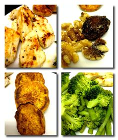 Post-workout meal: grilled chicken, baked sweet potato slices, steamed broccoli & asparagus, few walnuts & dried fig