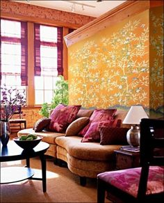 partial wall to divide space Griffin and Wong Silk Hand Painted Wallpaper; Baidunzi Installation (via India Colors)