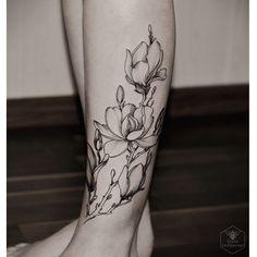 Diana Severinenko tattoo artwork, black lines flower
