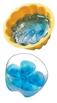Ice flowers for punch bowls, cool!! Use the bottom of a pop bottle water bottle, the mold from a cake or jello mold to make decorative ice for the punch bowl at your next birthday party, baby shower, bridal shower, 4th of July Party, Barbq, picnic or event. Great recipe!! Remember this one!!