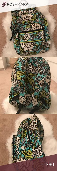 Vera Bradley Backpack Beautiful and large Vera Bradley backpack. Green, blue, and white floral pattern. I used for about a month before I realized I would need something smaller. Flaws include a bit of pink coloring, tear near bottom, and darkened arm straps. (all pictured!) 🌿💖 Vera Bradley Bags Backpacks