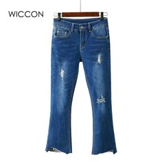 Jeans For Women Flared Stretch Jeans women Bell Bottom Pants Skinny Jeans Ripped Holes Female Summer Sexy Jeans Woman Trousers