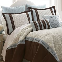 Refresh your master suite or guest room with this cozy quilted comforter set, showcasing 2 standard shams, 2 Euro shams, a bed skirt, and 2 decorativ. Queen Comforter Sets, Bedding Sets, Brown Comforter, King Comforter, Dream Bedroom, New Room, Home Textile, Textile Design, Home Furniture