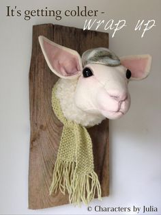 Fauxidermy. Lamb is feeling the chilly autumn air. Textile taxidermy.