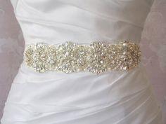 Crystal Rhinestone Sash, Diamond White Wedding Belt, Off White Bridal Sash,  Wedding Sash- LOIRE