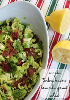 Tone It Up - Maple Turkey Bacon Brussels Sprout Salad Hcg Recipes, Meat Recipes, Real Food Recipes, Cooking Recipes, Healthy Recipes, Sprouts Salad, Brussel Sprout Salad, Brussels Sprouts, Eating Raw