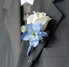 Real Touch Rose Wedding Boutonniere for Groom, Groomsmen - Real Touch White Rose with Blue Delphinium Silk Flower Wedding Hydrangea Boutonniere, Corsage And Boutonniere, Groomsmen Boutonniere, Groom And Groomsmen, Wedding Boutonniere, Boutonnieres, Blue Hydrangea Bouquet, Prom Flowers, Purple Wedding Flowers
