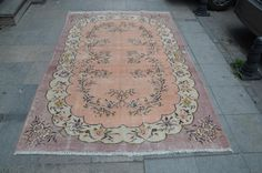 PASTEL Rug, Non overdyed OUSHAK Rug, Traditional Turkish Rug, Handmade Area Rug, Oushak Rug  (270 cm x 176 cm)  8,8 ft x 5,7 ft  model: 822 by OushakRugs on Etsy