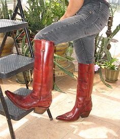 HONKIN' HOT CUSTOM BOOTS FROM MIGUEL JONES! RAD X-TOES/BEEFY HEELS/SKY-HI SHAFTS! JUN. '17. High Heel Cowboy Boots, Custom Cowboy Boots, Custom Boots, Western Boots, High Boots, Heeled Boots, Mx Boots, Cool Boots, Jeans And Boots