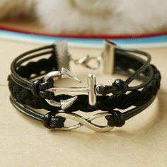 Infinity bracelet ,anchor bracelet- black combination bracelet for princess. $7.99, via Etsy.
