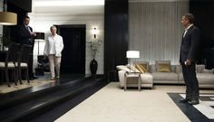 """Black and white interior w/ gold in movie """"Quantum of Solice"""" on Neo Horseman Blog"""