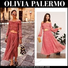 Olivia Palermo in red printed off shoulder top and red printed pleated midi skirt Olivia Palermo Style, Pleated Midi Skirt, Off Shoulder Tops, Royal Fashion, Beautiful Celebrities, Celebs, Street Style, Style Inspiration, My Style