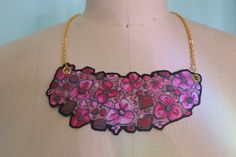Pink Wearable Paperdoll Necklace reproduction trompe by MEOC28