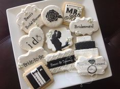 """black & white wedding/bridal shower cookies Love the """"from this day forward..."""" & the """"I do"""""""