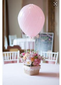 Where can I get the baskets for such a hot air balloon model? I want to make it for my baby girl's first birthday. #FirstBirthday #BalloonDecor