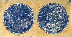A world, a sattelite, x cyanotype, chalk, silver foil on paper Mood Indigo, Pastel, Cyanotype, Mark Making, Art Gallery, Gallery Walls, Screen Printing, Artsy, Fine Art