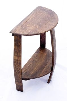Wine Barrel Half Round End Table made from a recycled solid oak barrel end cap and staves. Ideal for placing by a couch or wall where space is a concern.