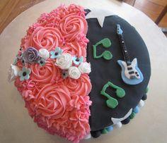 half girl/half boy cake
