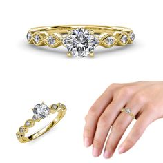 Classic with a twist........ Engagement Ring Milgrain Work in 14K Yellow Gold - EXTRA 10% OFF  #Engagementring #diamond #gold #jewelryforwomen #finejewelry #love #gift #trijewels