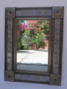 TIN TALAVERA MIRROR punched mexican folk art mirrors wall hanging mirrors