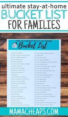 Stuck at home for a bit of time with the family? Or maybe you're looking for some fun rainy day activities to work through or even boredom busters for summer break! Grab our printable stay-at-home family bucket list and work on checking off the 50 fun and easy suggestions on the checklist. Perfect for kids of all ages - all suggestions are family-friendly. #bucketlist #printable #prepper #quarantine #mamacheaps