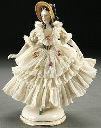 "Volksfigure - The name ""Dresden Lace"" is used after the fact that most of these ""Lace"" figurines were made in Dresden, Germany. Dresden China, Dresden Germany, Dresden Porcelain, Glass Figurines, Beautiful Figure, Lost Art, Royal Doulton, Vintage Dolls, Pottery"