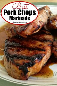 This is hands down the BEST Marinade for grilled pork chops. It's thick and sweet from molasses and has zing from cider vinegar and spices! #bestporkchopmarinade Best Pork Chop Marinade, Marinated Pork Chops, Honey Garlic Pork Chops, Pork Chop Recipes, Grilling Recipes, Pork Marinade Recipes, Rub Recipes, Crockpot Recipes, Cooking Recipes