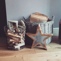New zinc lined log basket, wire basket and a wooden star (this xmas dec is staying out all year long)