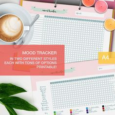 Mood tracker printable! A nice and cute mood chart to keep track of several aspects of your life, perfect for your planner or bullet journal. The zip contains a lot of stuff: . theres the Yearly tracker where youll have the whole year in one page, and it comes in two versions: a pre-compiled one and one with blanks to customize yourself! . theres also the monthly tracker, a different page for each month where you can record more things and more accurately, Youll find several...