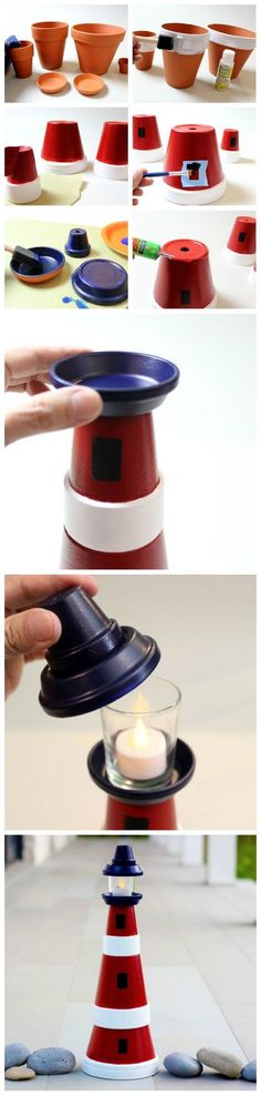 DIY Project: Clay Pot Lighthouse - Home Decorating Magazines Clay Pot Projects, Clay Pot Crafts, Diy Clay, Diy Projects To Try, Crafts To Make, Fun Crafts, Craft Projects, Crafts For Kids, Arts And Crafts