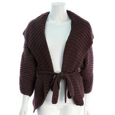 Oscar de la Renta Eggplant Cashmere Cable Knit Sweater - $249.99