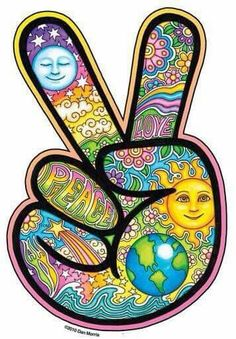 Hand, covered with hippy art, making the peace sign.