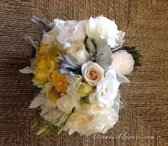 White, Yellow, and Grey Bridal Bouquet  http://www.instagram.com/oceanicflowers