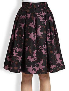 Burberry London Printed Full Silk Skirt