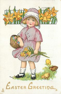 EASTER GREETING girl carries basket of eggs & bunch of daffodils, three chicks - TuckDB Postcards Needlepoint Patterns, Counted Cross Stitch Patterns, Vintage Cards, Vintage Postcards, Vintage Images, Holiday Postcards, Easter Vintage, Fete Pascal, Easter Illustration